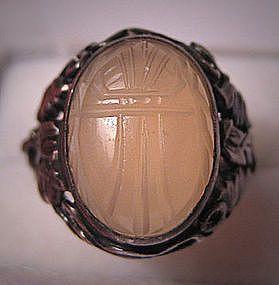 Antique Moonstone Scarab Ring, Victorian Egyptian Revival, circa 1870-80's