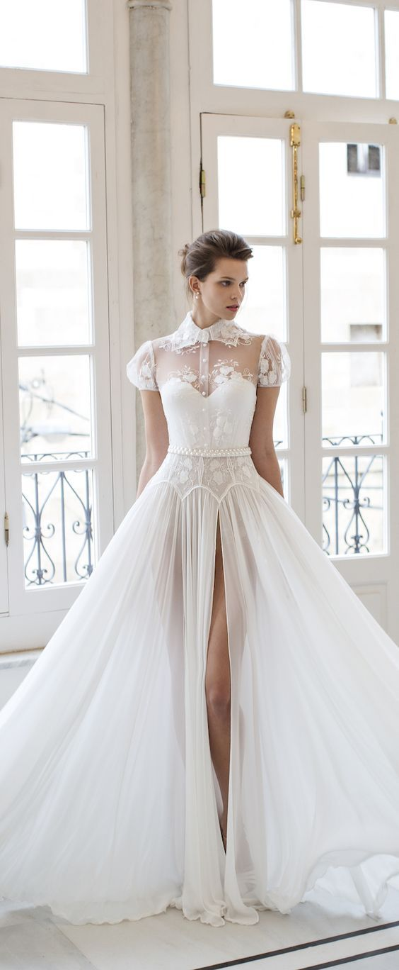 RIKI DALAL bridal 2016 short puff sleeves sweetheart illusion collar shirt bodice a line wedding dress / http://www.deerpearlflowers.com/wedding-dresses-with-cap-sleeves/: