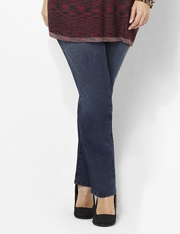 New for Fall 2013, this classic, straight leg style is destined to be your go-to fashion jean. Features a smooth, contoured waistband and premium, stretch denim fabric for ultimate comfort and fit. Hidden tummy-control panel firms and flattens your shape. Complete with square pockets and a zip opening with a button closure that is embossed with the Catherines signature flourish. Catherines pants are specifically designed with the plus size woman in mind. catherines.com