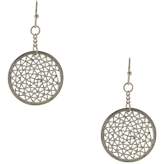 Sparkling Sage Silvertone Filigree Drop Earrings ($6.99) ❤ liked on Polyvore