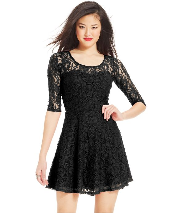 Material Girl Short-Sleeve Lace Skater Dress - Juniors Dresses ...