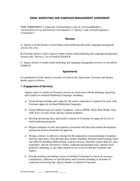 Email Marketing And Campaign Agreement Contract Template Marketing Agency Internet Advertising