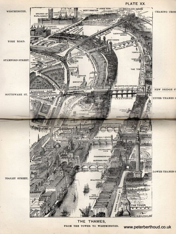 "The Thames -  A bird's-eye view from Herbert Fry's ""London"" (1891):"