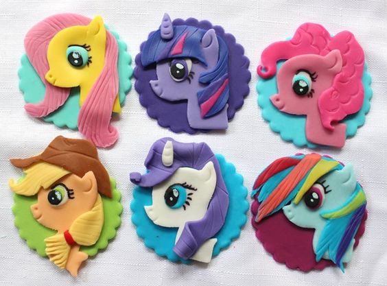 12 my little pony inspired edible fondant cupcake toppers decorations birthday party fancy horses favors by InscribingLives (36.99 USD) http://ift.tt/1KMQoN8