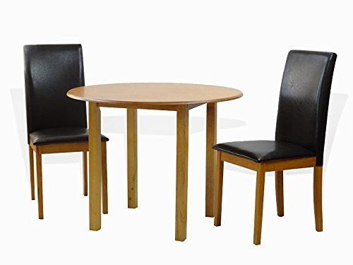 Dining Kitchen Set Of 3 Piece Round Table And 2 Classic Solid Wood