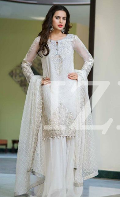 White Embroidered Chiffon Dress - Chiffon dresses- Chiffon and Dresses