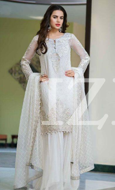 White Embroidered Chiffon Dress - Chiffon dresses- Chiffon and Dresses