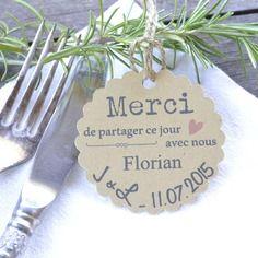 Lot de 10 marque-places papier kraft épais recyclé mariage dragées - etiquettes - personnalisées -sur commande - décoration table - cérémonie