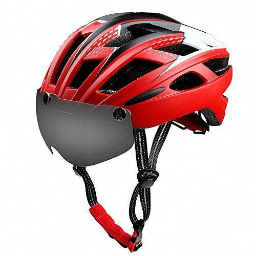 Bike Helmet With Detachable Magnetic Visor Shield Goggles Pads