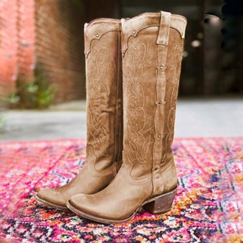 Details about  /Womens Suede Mid Block Heel Round Toe Side zip Knee High Boots Casual Shoes Plus
