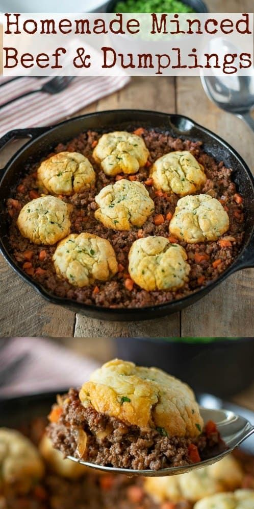 Homemade Minced Beef And Dumplings Are The Best British Comfort Food A Hearty Meal Served Ho Minced Beef Recipes Minced Beef Recipes Easy Mince Recipes Dinner