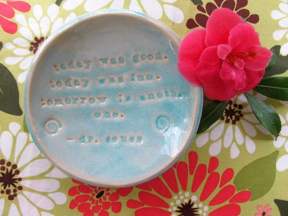 Blue Handmade Ceramic Ring Dish with Quote by Dr. by StudioMimmi