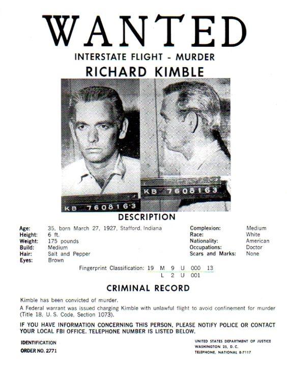 Richard Kimble's Wanted poster