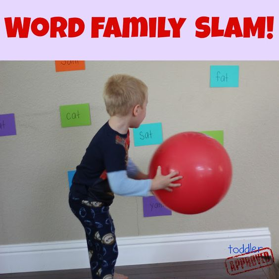 Word Family and Color Slam -  Write a variety of word family words on notecards  Tape the words to the wall or ground with painters tape. Call out a word and have your child try and find it and SLAM it by hitting it with a big ball.  Have your child choose the word he wants to hit and have him sound out that word and point to it. Then have him SLAM the word he chose with the ball. Do this again and again and let your child pick what words to read and which words to hit.