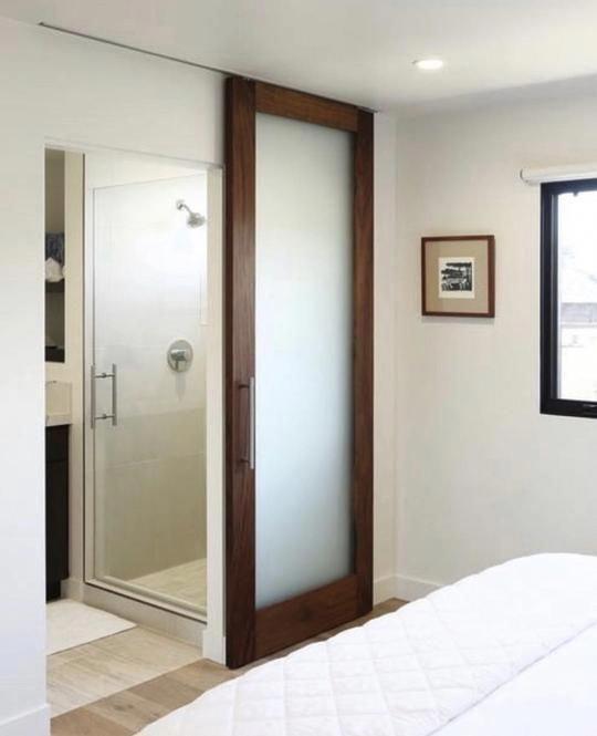 This One Looks Sensible French Door Curtains In 2020 Sliding Bathroom Doors Sliding Doors Interior Interior Barn Doors