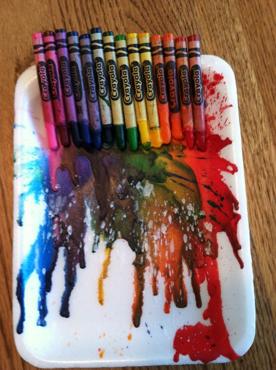 Crayon art:  Hot glue crayons and melt with a hair dryer