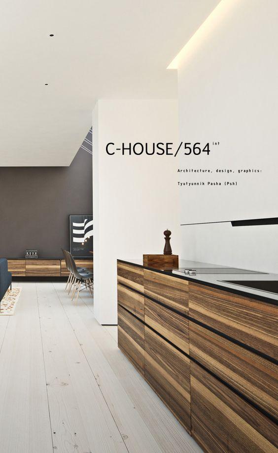 Combinação de cores ficou bem elegante.  C-HOUSE/564, Architecture & Design Studio | Reception Desk #office #architecture  Madeira, branco e cinza! Paleta de cores