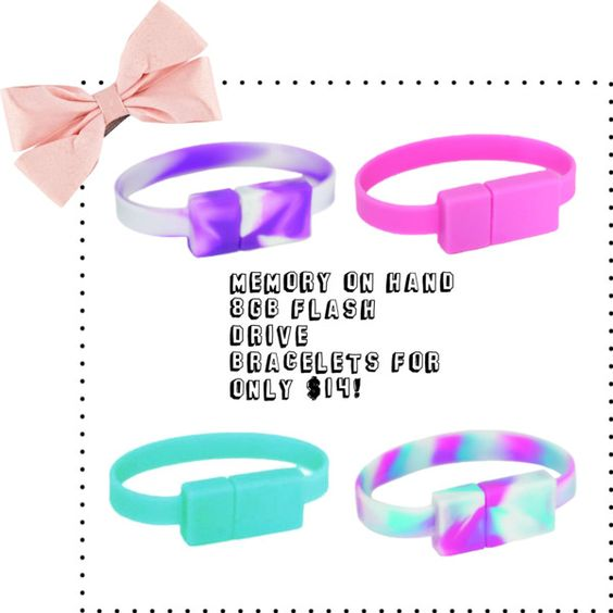 """Memory On Hand 8GB Bracelets CollegeBudget $14 Sale"" by lavagrantbelle on Polyvore"