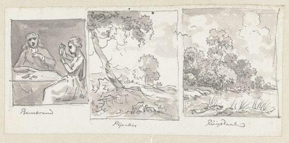 Jurriaan Andriessen | Schets van man en vrouw aan tafel en twee schetsen van landschappen, Jurriaan Andriessen, Rembrandt Harmensz. van Rijn, Adam Pijnacker, 1752 - 1819 | Schets van een man en een vrouw aan tafel en twee schetsen van landschappen, elk binnen een kader. Onder iedere schets staat de naam van de kunstenaar waarnaar de schets gemaakt is.