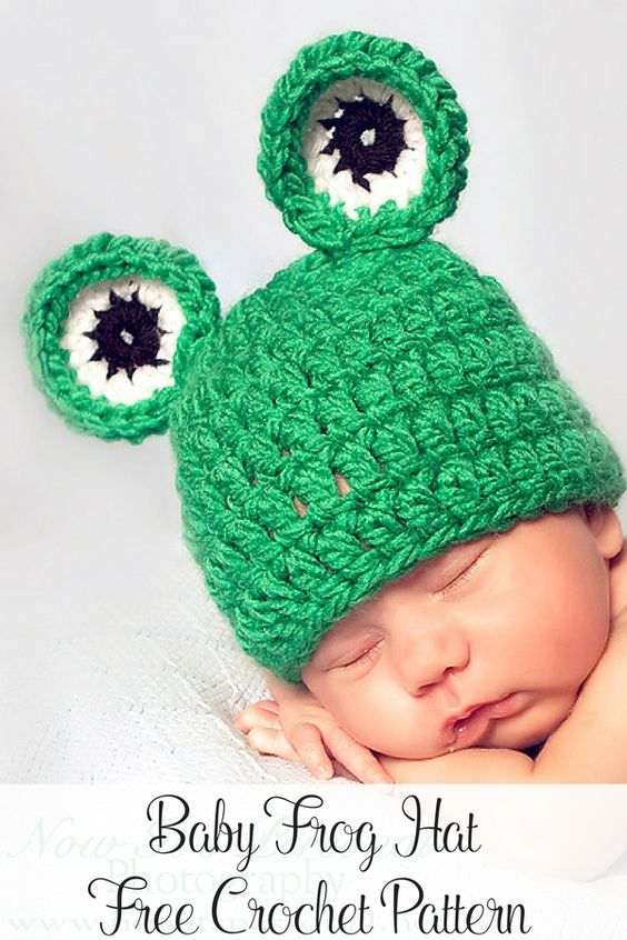 Free Crochet Pattern -- an adorable baby frog hat that can be cute for boys and girls! By Posh Patterns.: