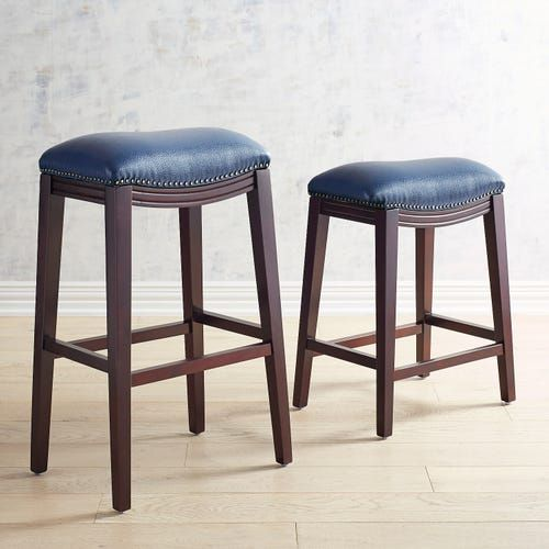Halsted Navy Blue Counter Bar Stool With Espresso Legs Bar Stools Blue Bar Stools