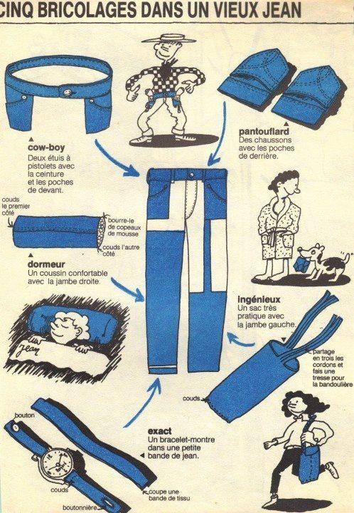 y 39 a de quoi faire avec un vieux jean idees couture pinterest bricolage bricolage et bizarre. Black Bedroom Furniture Sets. Home Design Ideas