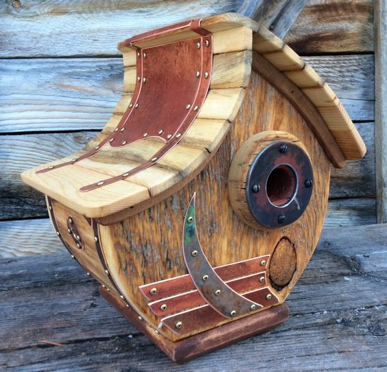 Unique Wooden Bird Houses: Unique Barnwood Copper Birdhouse Reclaimed Recycled