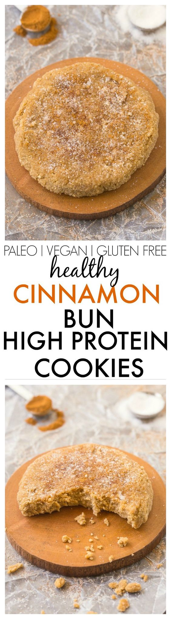 Healthy Cinnamon Bun Cookies packed with protein and 100% GRAIN FREE! NO butter, oil, grains or sugar at all! {vegan, gluten free, paleo recipe}- thebigmansworld.com