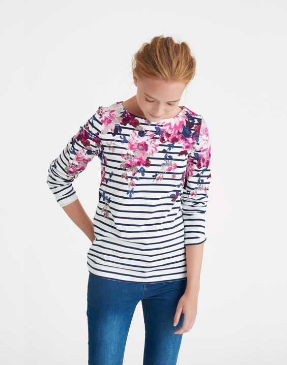 Harbour print Cream Floral Stripe Jersey Top   Joules US