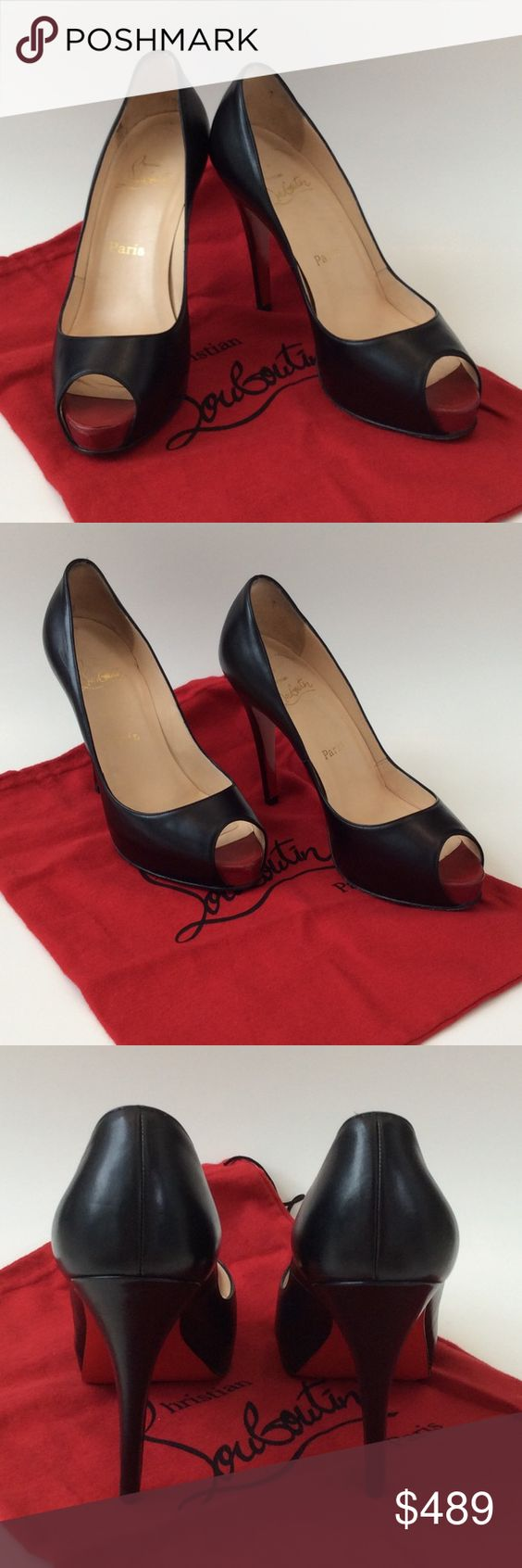 """LOUBOUTIN BLACK LEATHER PEEP TOE PUMPPS SIZE 7.5 Gorgeous Christian Louboutin Very Prive peep toe stiletto heels with unmistakable signature red at the toe. Excellent condition! Size 7.5 but runs small, so 7 would be perfect. 4.5"""" heel height with a 3/4"""" platform for added comfort. This Very Prive is super popular and continue to go up in price. Dust bags included and extra heel tips. Price is firm due to the popularity of these shoes. Christian Louboutin Shoes Heels"""