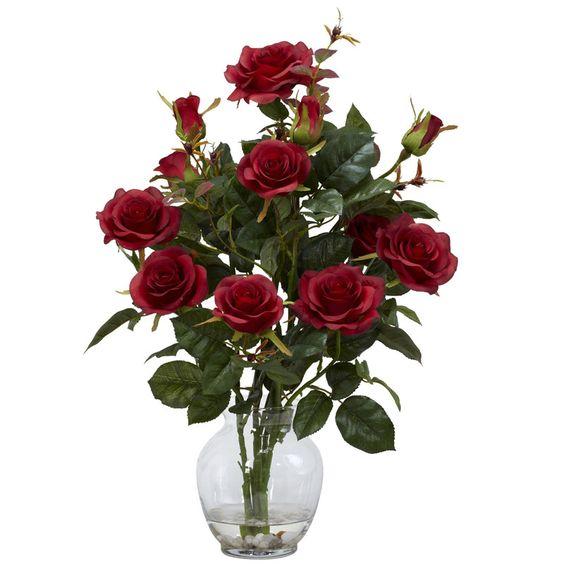 Nearly Natural 1281-RD Rose Bush With Vase Silk Flower Arrangement