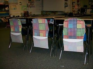 Great idea for back of chair organizer. Using fabric book covers!