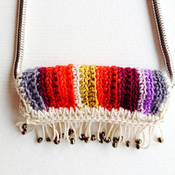 Rainbow pendant freeform crochet by saraaires on Etsy