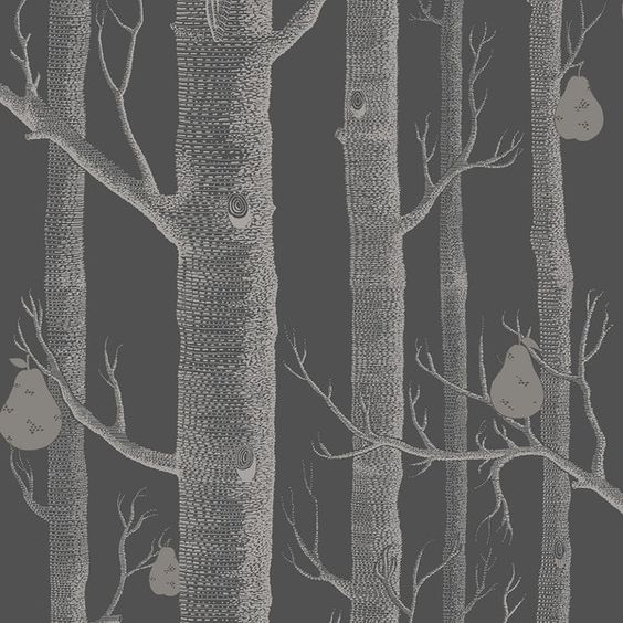 Cole & Son  Woods & Pears Wallpaper - 95/5031 ($115) ❤ liked on Polyvore featuring home, home decor, wallpaper, grey, tree home decor, shimmer screen, gray wallpaper, gray home decor and woods wallpaper