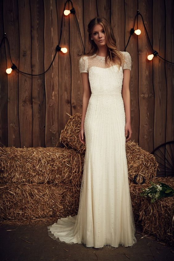 Jenny Packham Dallas in Ivory | High Neck Short Sleeve Wedding Dress