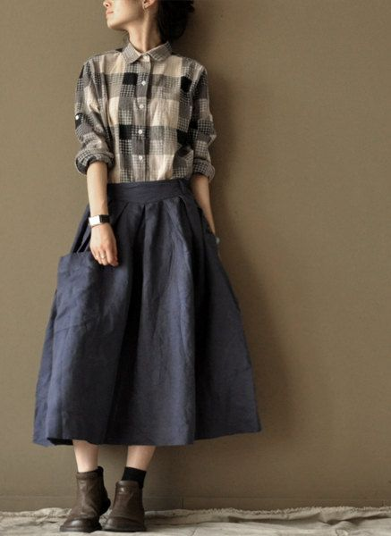 Dark Blue Loose skirts linen Chic skirts cotton skirts Big Pocket: