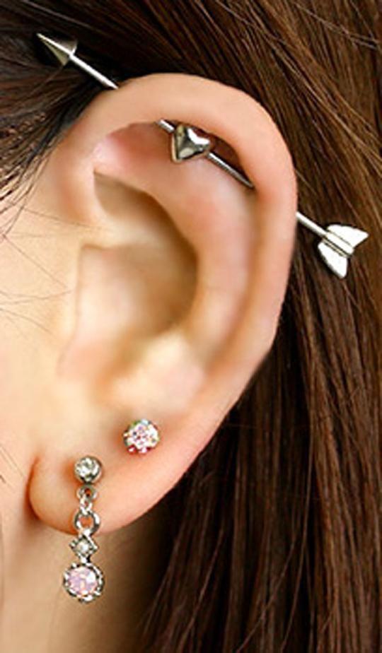 "Silver Arrow Piercing Conch Helix Cartilage Piercing 1//4/"" 14G Earring"