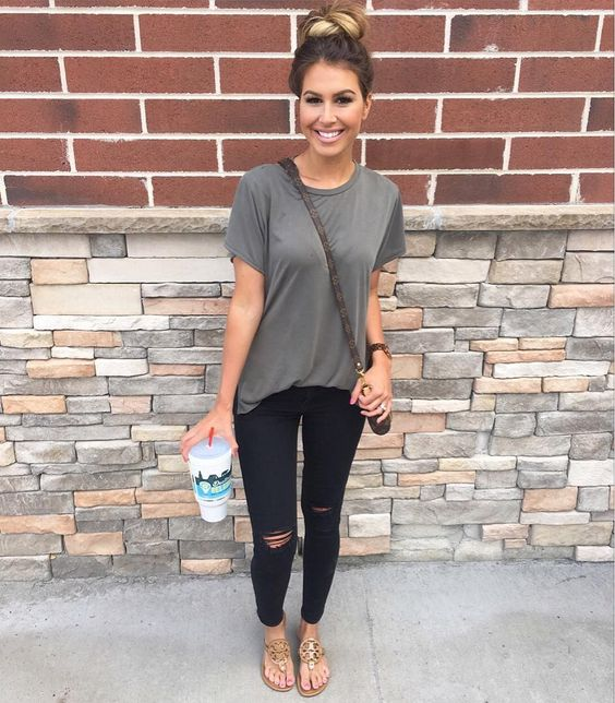 Grey Tee and Black, Distressed Jeans