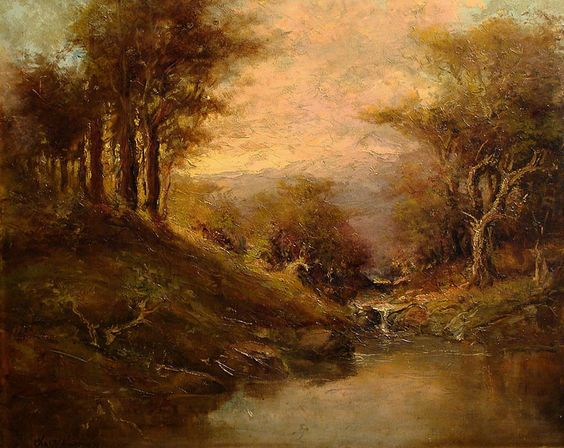 Tranquil Pond by Charles Henry Harmon 18x22 Oil on Canvas