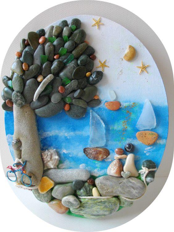 romance at the seaside pebble art by Hara