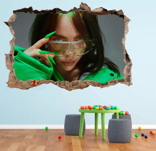 Billie Eilish 3d Smashed Wall Decal Broken Wall Sticker Wall Art In 2020 Sticker Wall Art Wall Decals Wall Stickers