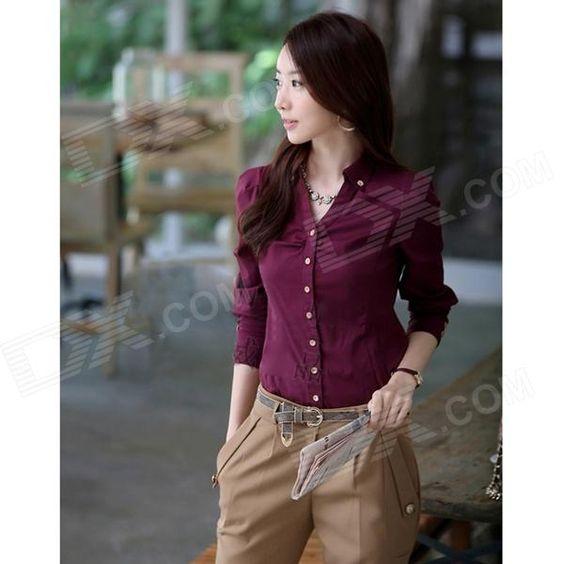 Women's Long-Sleeved Blouse OL Shirt - Red Wine (XL) US$12.40