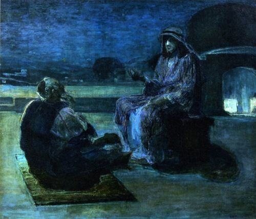 Henry Ossawa Tanner:  Christ and Nicodemus on a Rooftop (1927)