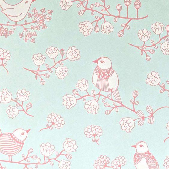 papier peint oiseaux turquoise - MAJVILLAN - déco chambre enfant originale