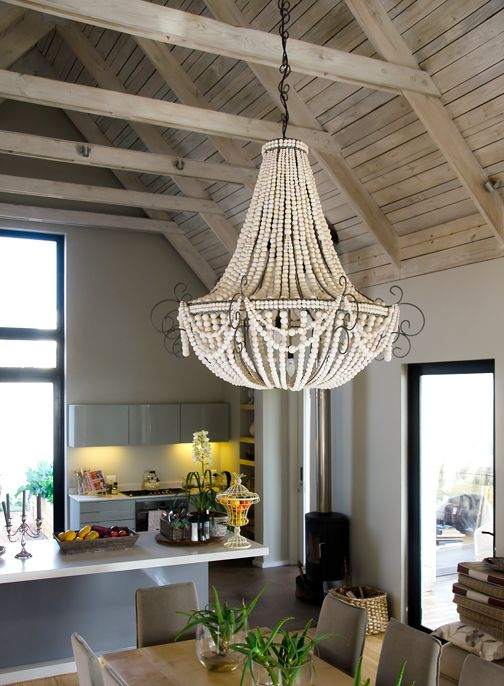 www.hellooow.co.za _ X Large TWIST ceramic bead chandelier in natural white beads