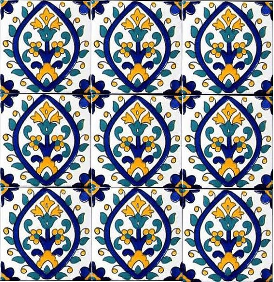 DECORATIVE CERAMIC TILES: accent mosaic hand painted wall decor kitchen bathroom backsplash swimming pool patio flooring art tile 4in x 4in...