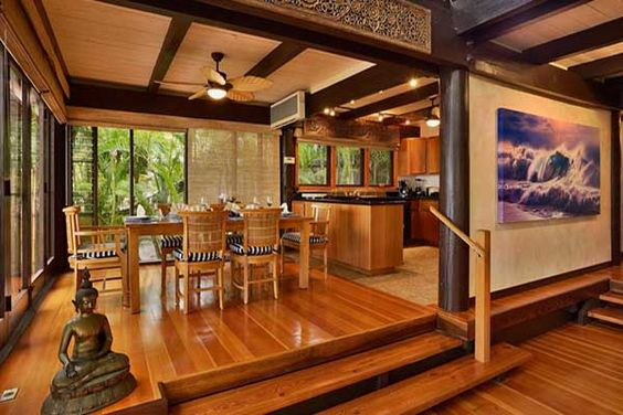 Hawaiian decor wood ceiling beams and tropical on pinterest for Tropical themed kitchen
