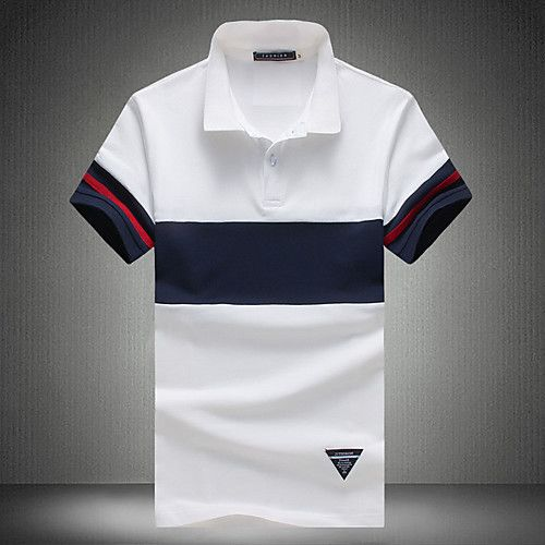 Fashion Men Shark Polo Shirt Short Sleeve Embroidered Striped Cotton T Shirt Top
