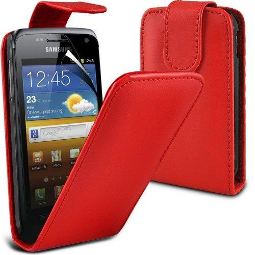 Buy Samsung Galaxy W i8150 Leather Flip Case Cover (Red) Plus Free Gift, Screen Protector and a Stylus Pen, Order Now Best Valued Phone Case on Amazon! By FinestPhoneCases NEW for 10.99 USD | Reusell