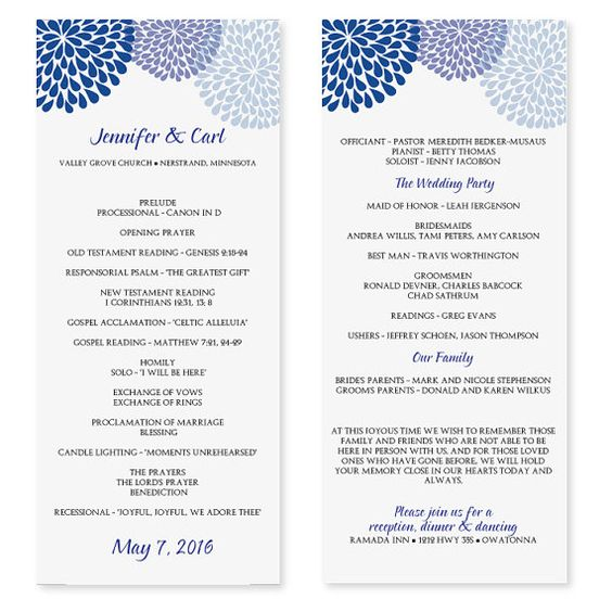 Wedding Program Template - Chrysanthemum (Blue) Tea Length ...